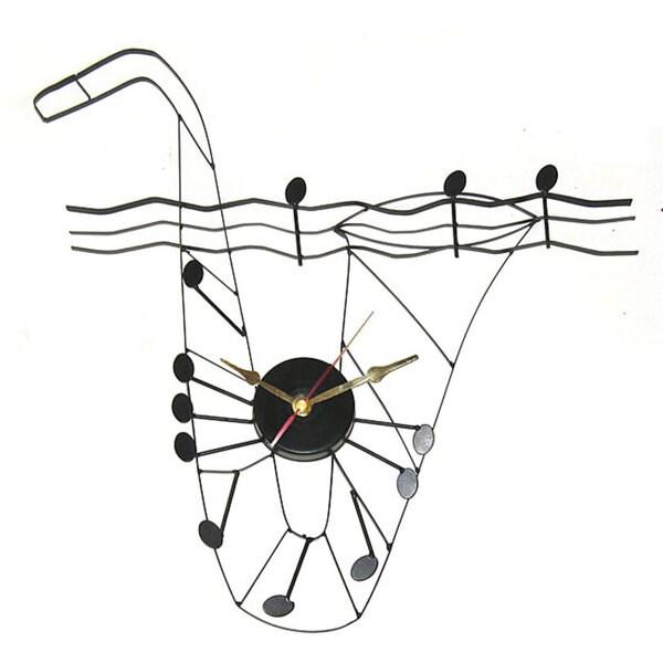 Saxophone Black Metal Clock