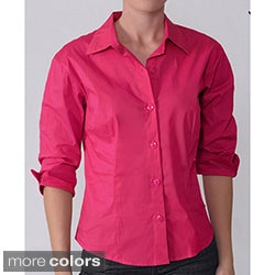 Journee Collection Women's Cotton 3/4-Sleeve Blouse