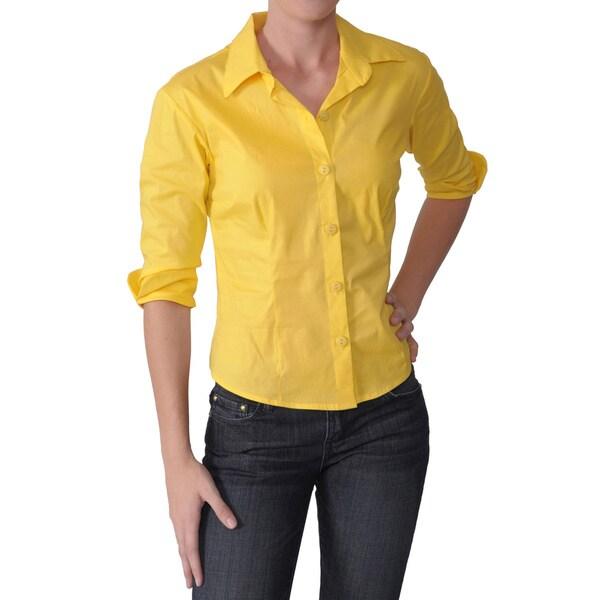 Journee Collection Women's Cotton 3/4-Sleeve Blouse