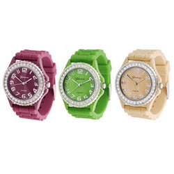Geneva Women's Platinum Silicone Link Watch