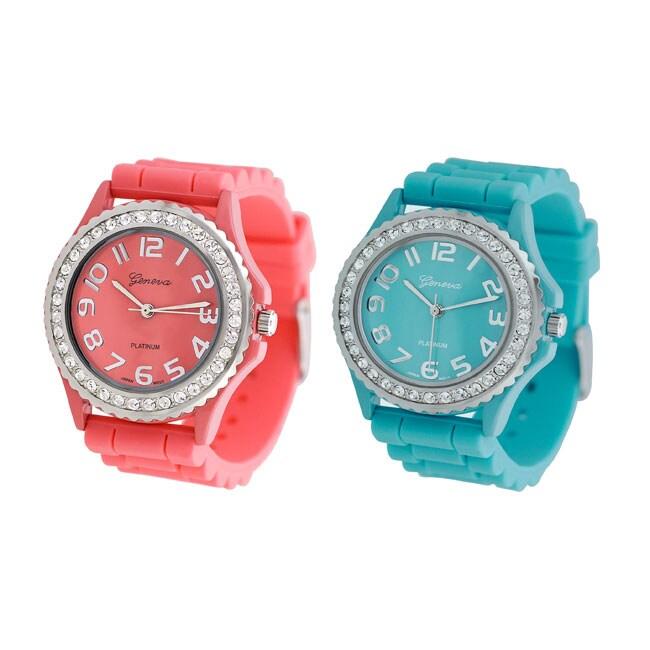 Geneva Women's Platinum Silicon Link Watch