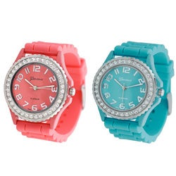 Geneva Women's Platinum Silicon Link Watch