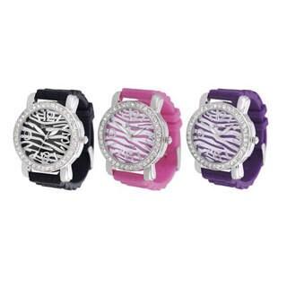 Geneva Platinum Women's Cubic Zirconia Silicone Strap Watch