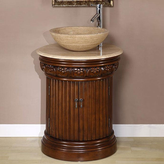 Small Vessel Sink Vanity : Silkroad Exclusive Bellevue 24-inch Vessel Sink Bathroom Vanity ...