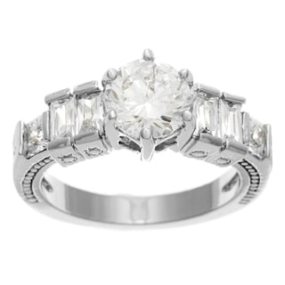 Simon Frank Bridal-Engagement 14K WG Overlay 1.33ct. Equal Diamond Weight CZ Stones Ring