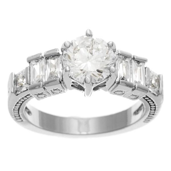 Simon Frank Bridal-Engagement 14K WG Overlay 1.33ct. Equal Diamond Weight CZ Ring