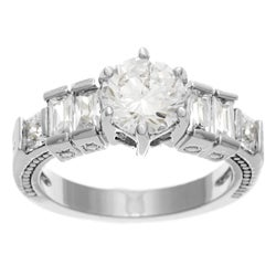 Simon Frank Bridal-Engagement 14K WG Overlay 1.33ct. Equal Diamond Weight CZ Ring