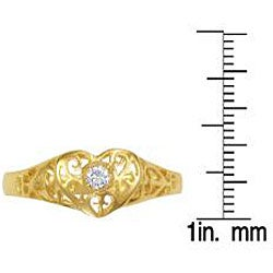 Simon Frank 14k Gold Overlay Cubic Zirconia Spanish Lace Heart Ring