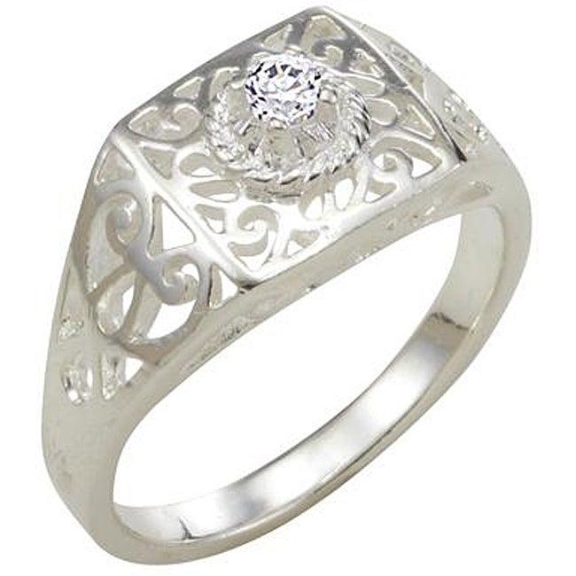 Simon Frank 14k White Gold Overlay Cubic Zirconia Spanish Lace Square Ring