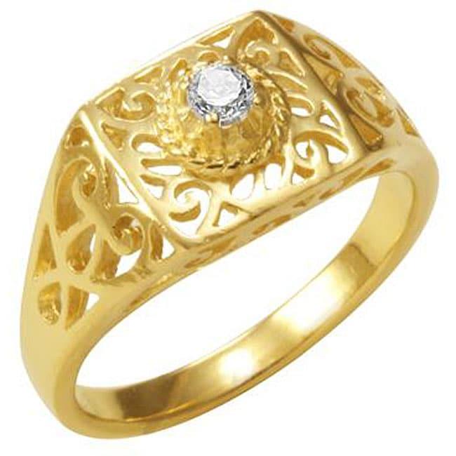 Simon Frank 14k Gold Overlay CZ Spanish Lace Square Ring