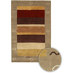 """Contemporary Hand-Knotted Mandara Brown Wool Rug (7'9"""" Round)"""