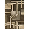 Abstract-Pattern Hand-Knotted Mandara Black Wool Rug (2' x 3')