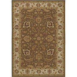 Hand-Knotted Oriental Mandara Brown New Zealand Wool Rug (7'9 x 10'6)