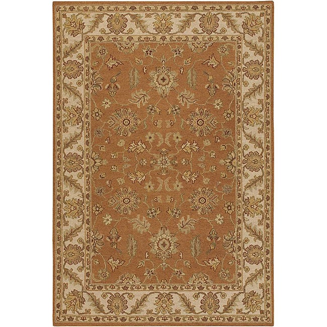 Hand-knotted Mandara Orange New Zealand Wool Rug (7'9 x 10'6)