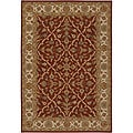 Hand-knotted Mandara Burgundy New Zealand Wool Rug (7'9 x 10'6)