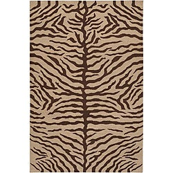 Hand-knotted Mandara Animal Print Wool Rug (7'9 x 10'6)
