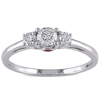 L'Amour Enrose by Miadora 14k Gold 1/2ct TDW Diamond and Pink Sapphire Ring (H-I, I2-I3)