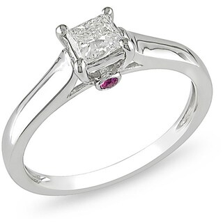 L'Amour Enrose by Miadora 14k Gold 1/2ct TDW Diamond and Sapphire Solitaire Engagement Ring (H-1, I2