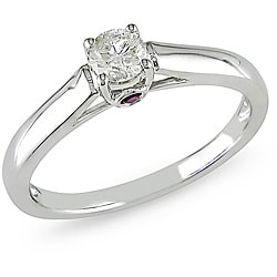Miadora 14k Gold 1/4ct TDW Diamond and Sapphire Solitaire Engagement Ring (H-I, I2-I3)