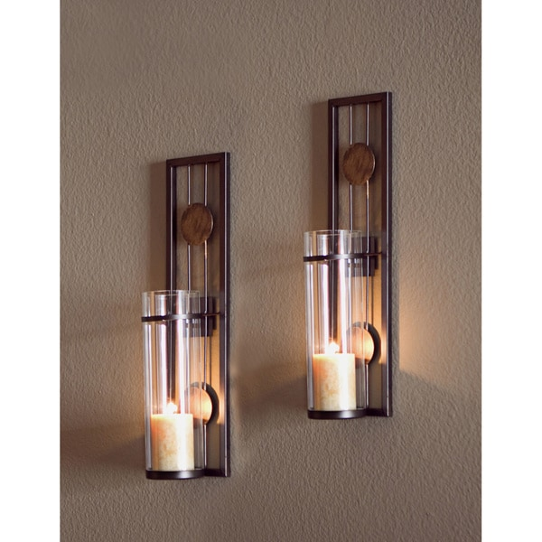 Contemporary Metal Wall Sconce Set - 12678087 - Overstock.com Shopping - Great Deals on Danya B ...