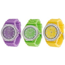 Geneva Women's Platinum Cubic Zirconia Silicone Strap Accent Watch