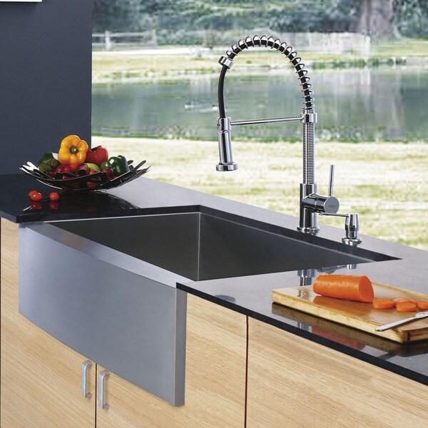 VIGO Farmhouse Stainless Steel Kitchen Sink/ Faucet/ Dispenser