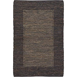 Hand-woven Mandara Brown Leather Rug (7'9 x 10'6)