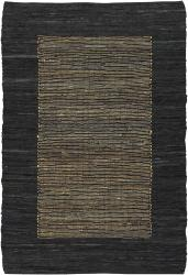 Hand-woven Mandara Black Leather Rug (7'9 x 10'6)