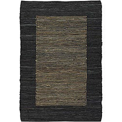 Hand-woven Mandara Black Leather Rug (7'9 x 10'6)