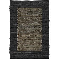 Hand-woven Flat-weave Mandara Black Leather Rug (9' x 13')