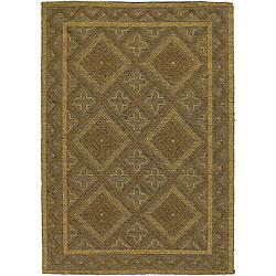 Hand-woven Mandara Flat-weave Jute Rug (5' x 7'6)