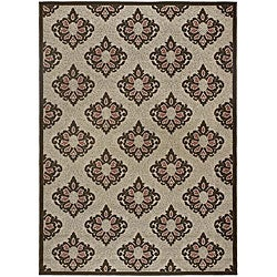 Mandara Indoor/ Outdoor Oriental Brown Rug (3'11 x 5'7)