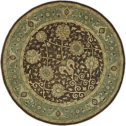Handmade Mashad Brown/ Green Wool Rug (3'6 Round)