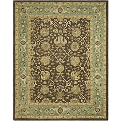 Handmade Mashad Brown/ Green Wool Rug (8'3 x 11')