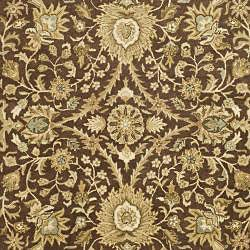 Handmade Kerman Chocolate/ Gold Wool Rug (7'6 x 9'6)