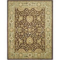 Handmade Kerman Chocolate/ Gold Wool Rug (8'3 x 11')