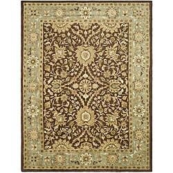 Safavieh Handmade Kerman Chocolate/ Gold Wool Rug (6' x 9')