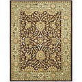 Handmade Kerman Chocolate/ Gold Wool Rug (6' x 9')