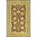 Safavieh Handmade Mashad Brown/ Green Wool Rug (4' x 6')