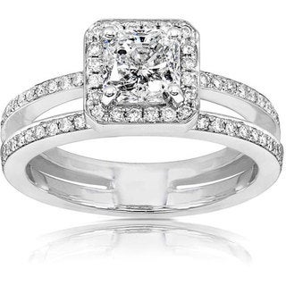 Annello 14k Gold 1 1/3ct TDW Radiant Cut Diamond Engagement Ring (H-I, I1-I2)