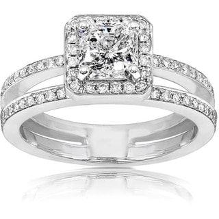 Annello 14k Gold 1 1/3ct TDW Radiant Cut Diamond Engagement Ring (H-I, I1-I2)
