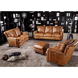 Pecan Top Grain Leather Sofa Set