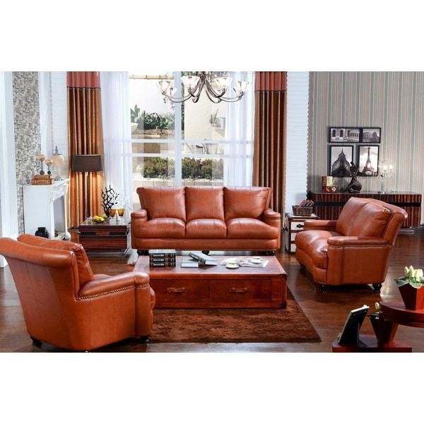 Pecan Top Grain Leather Sofa Set 12680488 Overstock