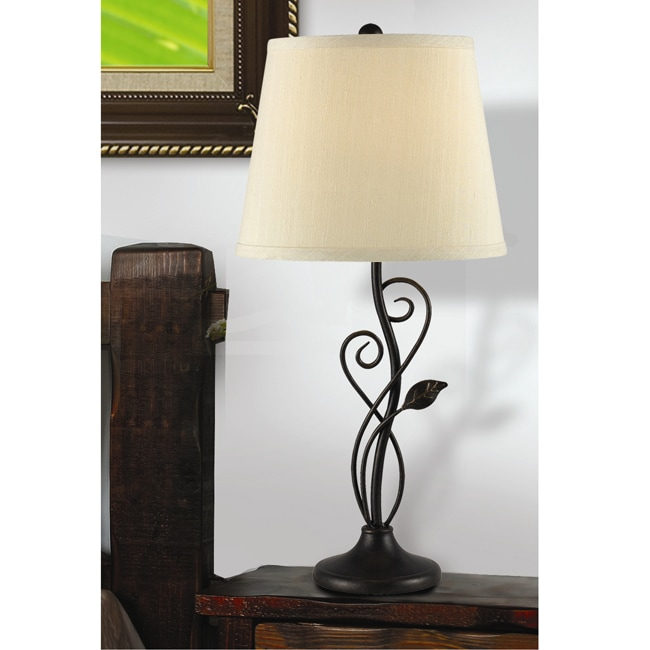 table lamp leaf design swirl metal oil rubbed decor unique bedroom