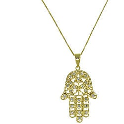 Gold over Sterling Silver Cubic Zirconia 'Hamsa' Necklace