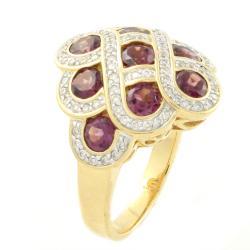 Beverly Hills Charm High Polish 14k Yellow Gold Rhodolite and 1/2ct TDW Diamond Ring