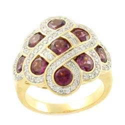 Beverly Hills Charm High Polish 14k Yellow Gold Rhodolite and 1/2ct TDW Diamond Ring