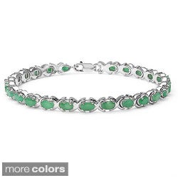 Malaika Sterling Silver Oval-cut Aquamarine or Emerald Link Bracelet