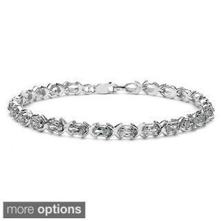 Malaika Sterling Silver Oval-cut Aquamarine or Emerald Link Bracelet
