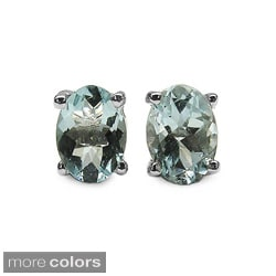 Malaika Sterling Silver Oval-cut Gemstone Stud Earrings